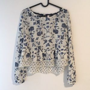 Blue and White Floral Ruffle Top